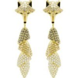Swarovski MARCH FOX PIERCED EARRINGS, MULTI-COLOURED, GOLD PLATING ~ crystal bling jewellery ~ glamorous going out accessory