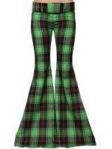 MARCO DE VINCENZO GREEN PLAID MAXI FLARED VIRGIN WOOL PANTS | extreme flares | tartan trousers