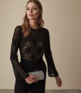 Reiss MARION LACE EMBELLISHED JUMPSUIT BLACK | glamorous party wear