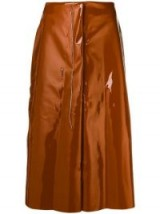 MARNI Creamy unfinished skirt in nougat / high shine fashion