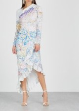 MARY KATRANTZOU Lenda printed cady dress ~ feminine asymmetric style clothing