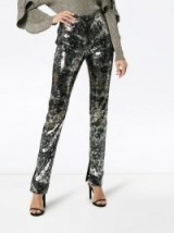 MARY KATRANTZOU sequinned straight leg trousers / gold and silver metallic pants