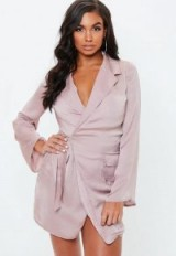 MISSGUIDED mauve hammered satin tie side blazer dress – wrap style dresses