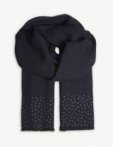 MAX MARA Corona crystal-embellished navy wool scarf – luxe winter accessory