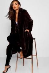 boohoo Maxi Soft Faux Fur Coat in Chocolate | dark brown winter coats