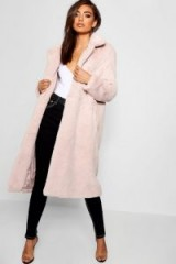 boohoo Maxi Soft Faux Fur Coat in Natural | luxe style winter coats