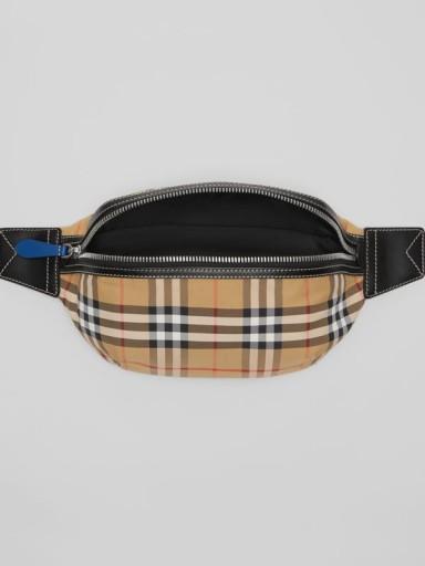 BURBERRY Medium Vintage Check Bum Bag in Antique Yellow / check print belt bag