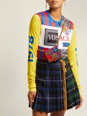 VERSACE Medusa-coin tartan belt bag / small checked crossbody