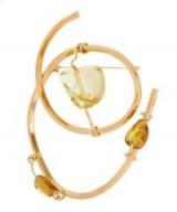 MARNI Metal and Amber Brooch – stylish yellow stone statement jewellery
