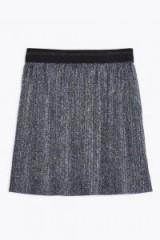 Topshop Metallic Plisse Mini Skirt in Blue