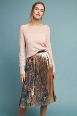 Maeve Metallic Printed Pleated Skirt Green Motif ~ shiny floral print skirts