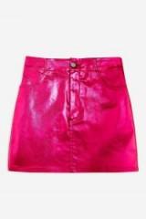 Topshop Pink Metallic Skirt | shiny mini