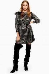 Topshop Metallic Thread Jacquard Mini Dress in Silver   retro party dress   80s glam