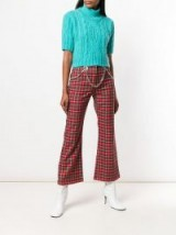 MIAOU plaid cropped trousers in rosso / red tartan pants