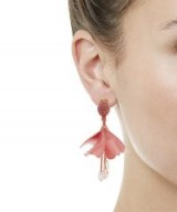 OSCAR DE LA RENTA Mini Pink Impatiens Flower Drop Earrings