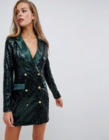 Missguided double breasted sequin blazer mini dress in green – embellished jacket dresses – glamorous partywear