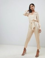 Missguided satin utility jumpsuit in champagne