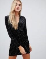 Missguided velvet glitter wrap front mini dress in black – glamorous lbd