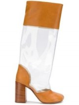 MM6 MAISON MARGIELA brown and transparent panel boots / high block heeled boot