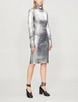MM6 MAISON MARGIELA Turtleneck silver metallic knitted dress / high shine fashion