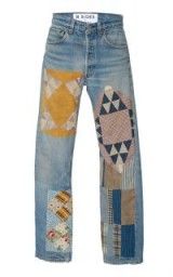 B SIDES Mid-Rise Straight-Leg Quilt Patch Jeans ~ casual boho denim