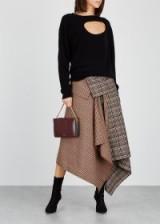 MONSE Checked wool-blend wrap skirt ~ draped asymmetric design