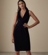 REISS MOSAIC VELVET TWIST FRONT DRESS MIDNIGHT NAVY ~ blue luxe style cocktail dress