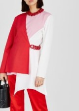 MSGM Colour-blocked chain-embellished top – pink, red and white colour blocking