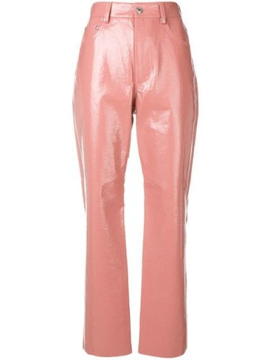 MSGM varnished pink high-waisted trousers / shiny pants