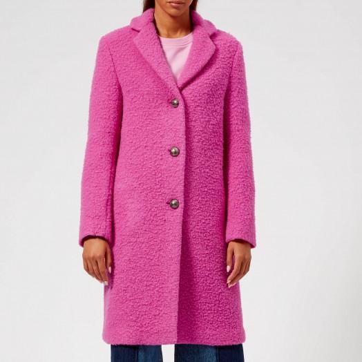MSGM Women's Smart Textured Coat – Pink – bright coloured coat