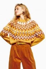 Topshop Mustard Fair Isle Jumper | yellow patterned sweater