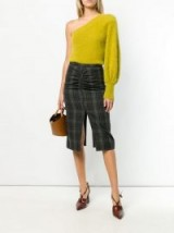 Nº21 green ruched tartan skirt