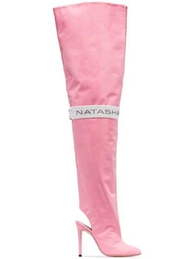 NATASHA ZINKO Pink 110 thigh-high patent leather cut-out boots