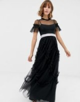 Needle & Thread tulle maxi gown with shirring detail in black | long ruffle trimmed party frock