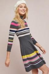 Maeve Nikki Striped-Turtleneck Dress | fit and flare sweater dress