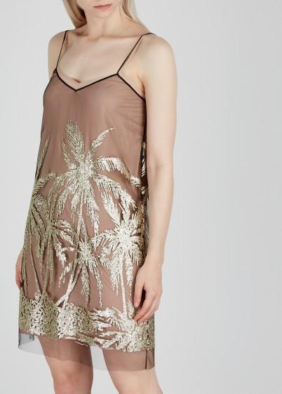 NO.21 Blush glittered tulle dress / glittering slip