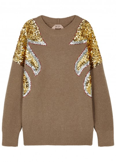 NO.21 Taupe sequin-embellished wool jumper / sequinned knitwear