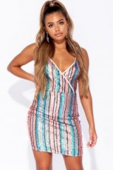 Parisian NUDE SEQUIN MULTI STRIPE WRAP OVER FRONT BODYCON DRESS ~ strappy bling dresses