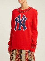 GUCCI NY Yankees crystal-embellished red wool sweater | logo appliqué jumper