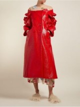 SIMONE ROCHA Off-the-shoulder red patent double-breasted coat ~ statement clothing