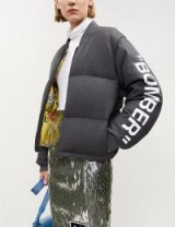 OFF-WHITE C/O VIRGIL ABLOH Text-print wool-blend puffer bomber jacket / padded slogan jackets