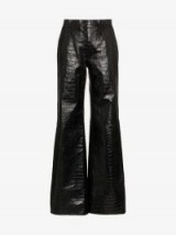 Off-White Flared Leg Patent Crocodile Embossed Leather Trousers in Black / shiny flares