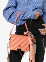 OFF-WHITE pink quilted bulldog clip leather shoulder bag ~ small stylish handbag