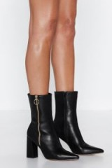 Nast Gal Oh Really O-Ring Boot in Black Faux Leather