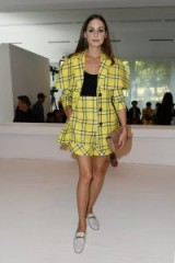 Olivia Palermo in yellow plaid at Tod's Spring/Summer 2019 for Milan Fashion Week