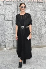 Olivia Palermo looks chic in a black fringed maxi at Alberta Ferretti Spring/Summer 2019 | Milan fashion week celebrity outfits