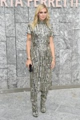 Chiara Ferragni dressed head to toe in metallic-silver, at Alberta Ferretti Spring/Summer 2019 ~ Milan fashion week glamour