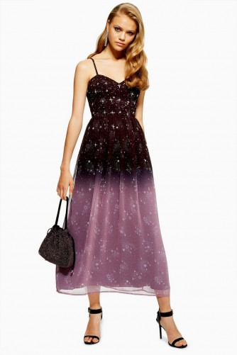 Topshop Ombre Corset Midi Dress | thin strap star print party frock