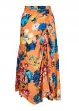 HOUSE OF HOLLAND ORANGE FLORAL ROUCHED MIDI SKIRT | gathered detail