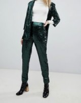 Outrageous Fortune sequin cigarette trouser Co-ord in emerald green – shimmering party pants